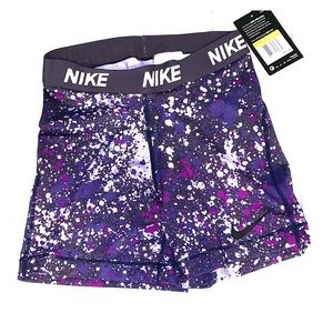 NWT Nike Pro Purple Splatter Spandex Shorts
